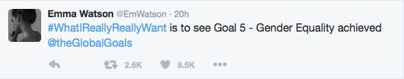 Emma Watson Tweet on WhatIreallyReallyWant