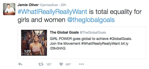 Jamie Oliver Tweet on WhatIreallyReallyWant