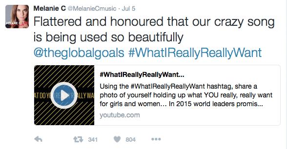 Melanie C Tweet on WhatIreallyReallyWant