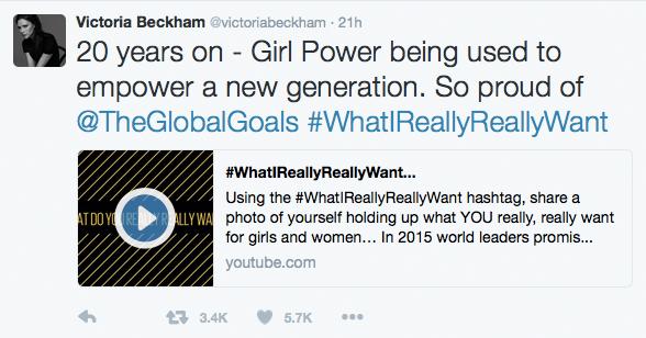 Victoria Beckham Tweet on WhatIreallyReallyWant